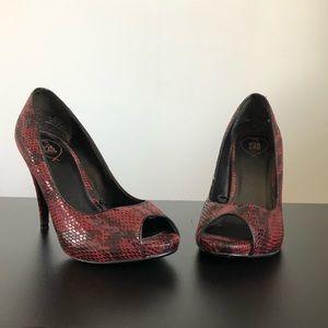 Red Snake Print Heels